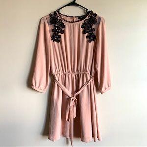 Forever 21 Pink Black Lace Wrap Dress Size Medium